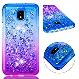 Amocase Funny Liquid Case with Black 2 in 1 Stylus for Samsung Galaxy J7 2018,Cute 3D Glitter Diamond Shockproof Quicksand Crystal Silicone Clear Cover for Samsung Galaxy J7 2018 - Blue Purple