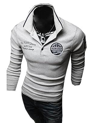 Yayu Men's Fashion Long Sleeve Slim Fit Sports Polo Shirts