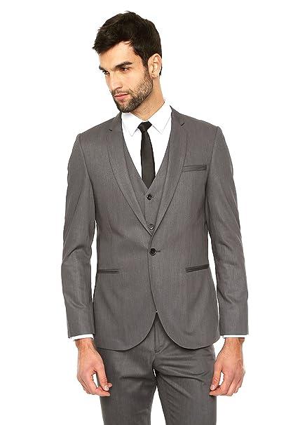 23f832cd6 LOB- Saco Gris de Vestir Saco para Hombre Gris Talla S  Amazon.com ...