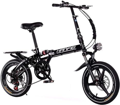 AOHMG Bicicleta Plegable Adulto City, 6-velocidades Peso Ligero ...