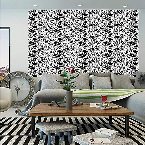 Music Wall Mural,Blues Jazz Punk Rock Various Type of Folk Indie Rap Reggae Peace Sign Sing Artwork,Self-Adhesive Large Wallpaper for Home Decor 83x120 inches,Black White