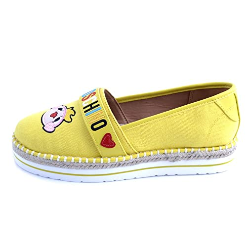 92185d1d3 Amazon.com: Love Moschino Espadrilles Woman in Yellow Canvas Fabric ...