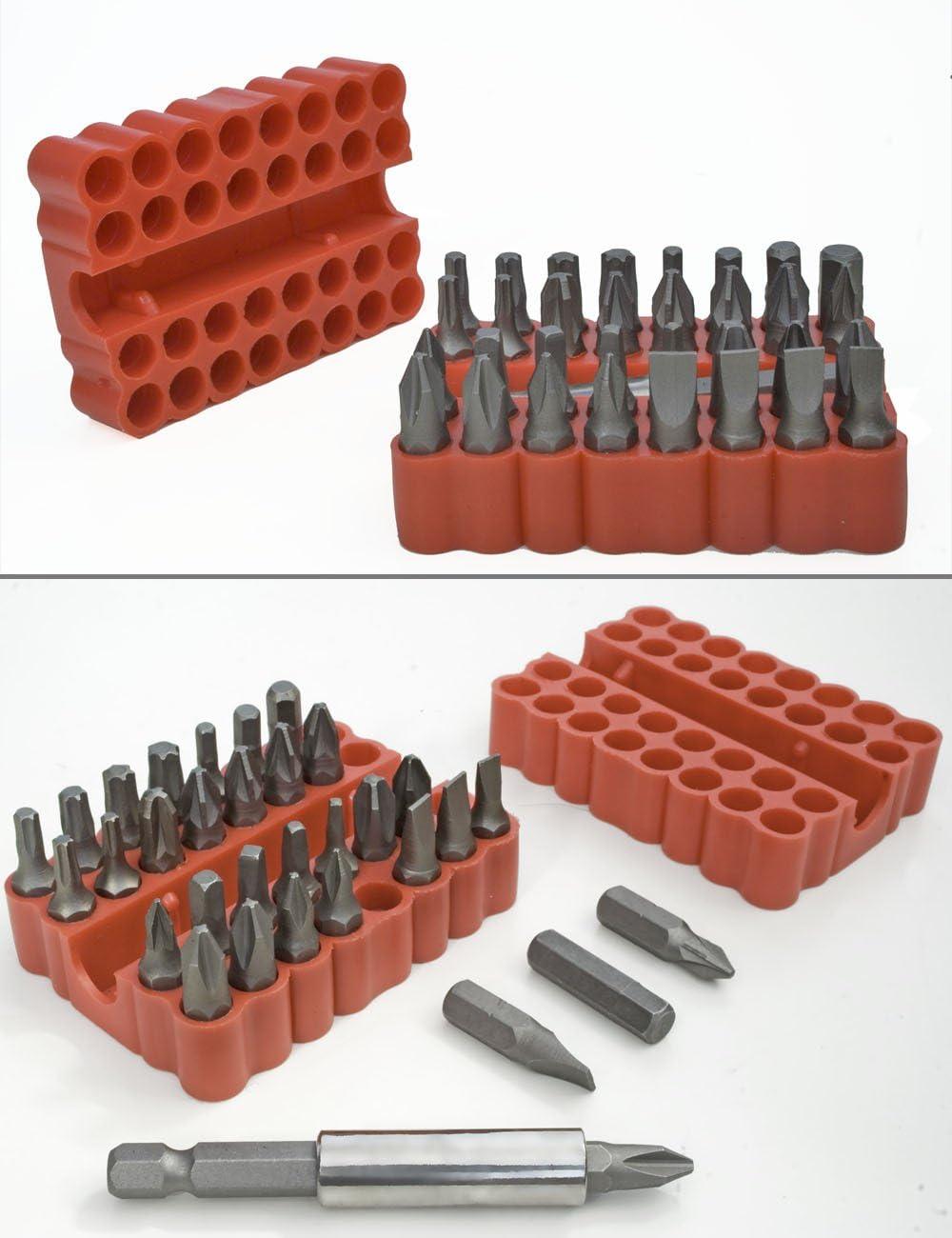 /33/pi/èces standard Bit Set Bits avec support magn/étique in Box Croix de vis Torx 6/pans Fente Imbus Bits 33er Set fuxxer/®/