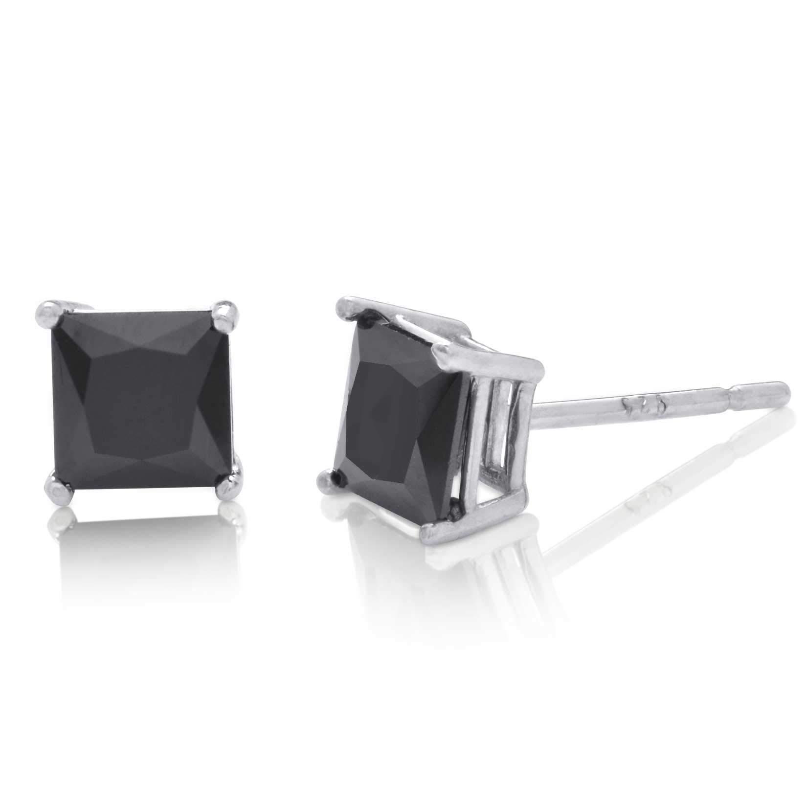 Radiant Princess Square Cut Black CZ Unisex Stud Earrings 925 Sterling Silver 5x5mm