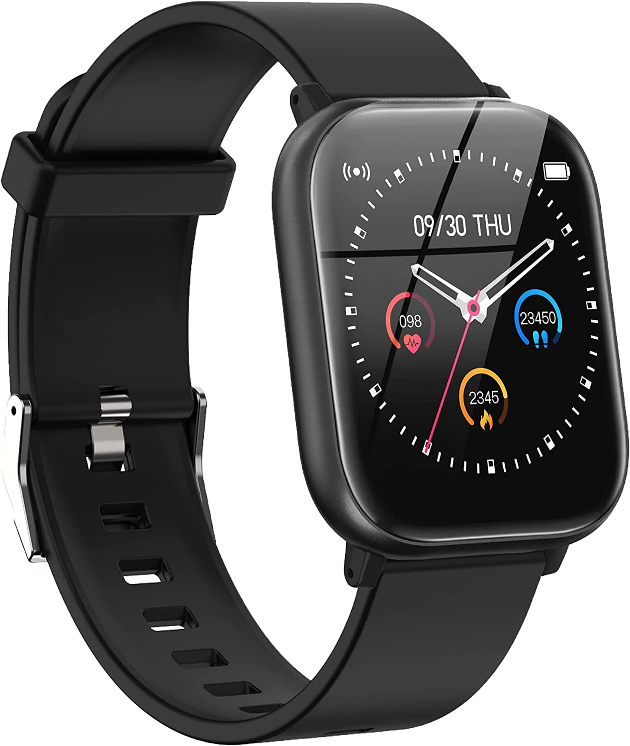 Smart Watch for Android Phones Compatible iPhone Samsung, Health Sport Wathes for Men Women GPS Run Activity Fitness Tracker with Blood Pressure Heart Rate Monitor, Replaceable Watch Face and Band