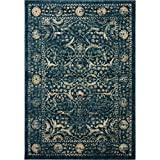 Cheap Safavieh Evoke Collection EVK512D Vintage Navy and Beige Area Rug (5'1″ x 7'6″)