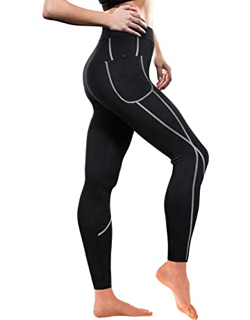 c7e1129b634a6 Women Weight Loss Hot Neoprene Sauna Sweat Pants with Side Pocket Workout  Thighs Slimming Capris Leggings