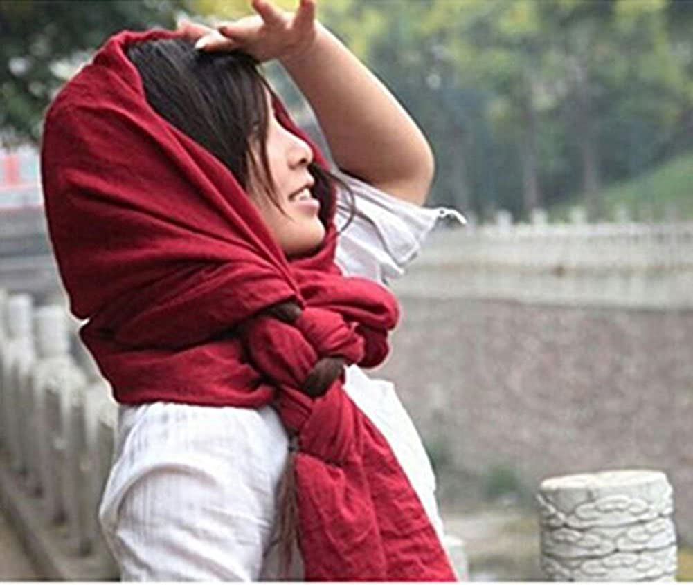 Qingsun Womens Scarf Cotton Linen Soft Loop Long Scarves 71 x59Beach Cover Up Shawl Wrap Scarf