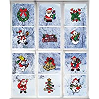 Giraffe Manufacturing Christmas Decorations - Holiday Window Sticker Clings - 12 Pack - Santa Claus, Snowman & Many More