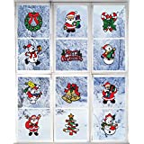 Giraffe Manufacturing Christmas Decorations – Holiday Window Sticker Clings - 12 Pack - Santa Claus, Snowman & Many More