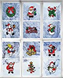 Christmas Decorations – Holiday Window Sticker Clings - 12 Pack - Santa Claus, Snowman & Many More