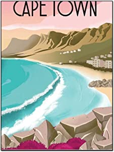 Posters Canvas Wall Art Cape Town South Africa Vintage Travel Beach Landscape Wall Art Paintings Home Decor Poster Decorative Painting Canvas Wall Art Living Room Posters Bedroom Painting 16×20inch(40