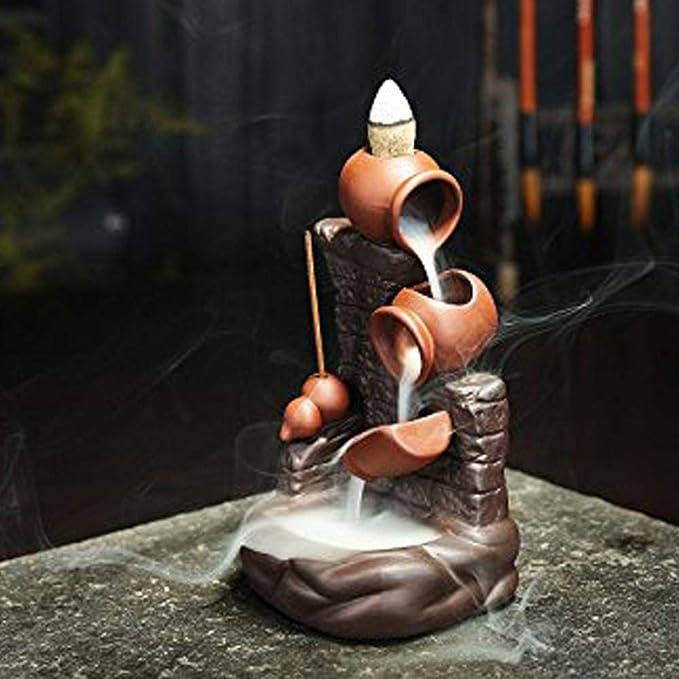 Home Dragon - Quemador de incienso, quemador de incienso de reflujo, soporte de incienso de reflujo con 10 soportes para incienso de cerámica