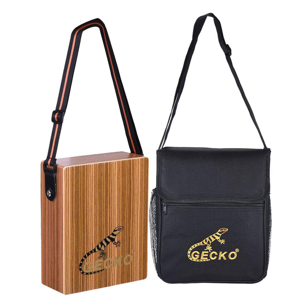 ammoon GECKO C-68Z Portable Traveling Cajon Box Drum Hand Drum Zebra Wood Persussion Instrument with Strap Carrying Bag by ammoon