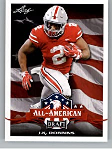 2020 Leaf Draft #68 J.K. Dobbins RC - Ohio State Buckeyes Baltimore Ravens (All-American) (RC - Rookie Card) NM-MT NFL Trading Football Card