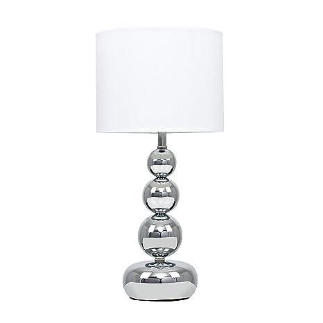 MiniSun - Lámpara de mesilla táctil y moderna, con base de columna de esferas - cromada y pantalla blanca estilo seda [Clase de eficiencia energética ...