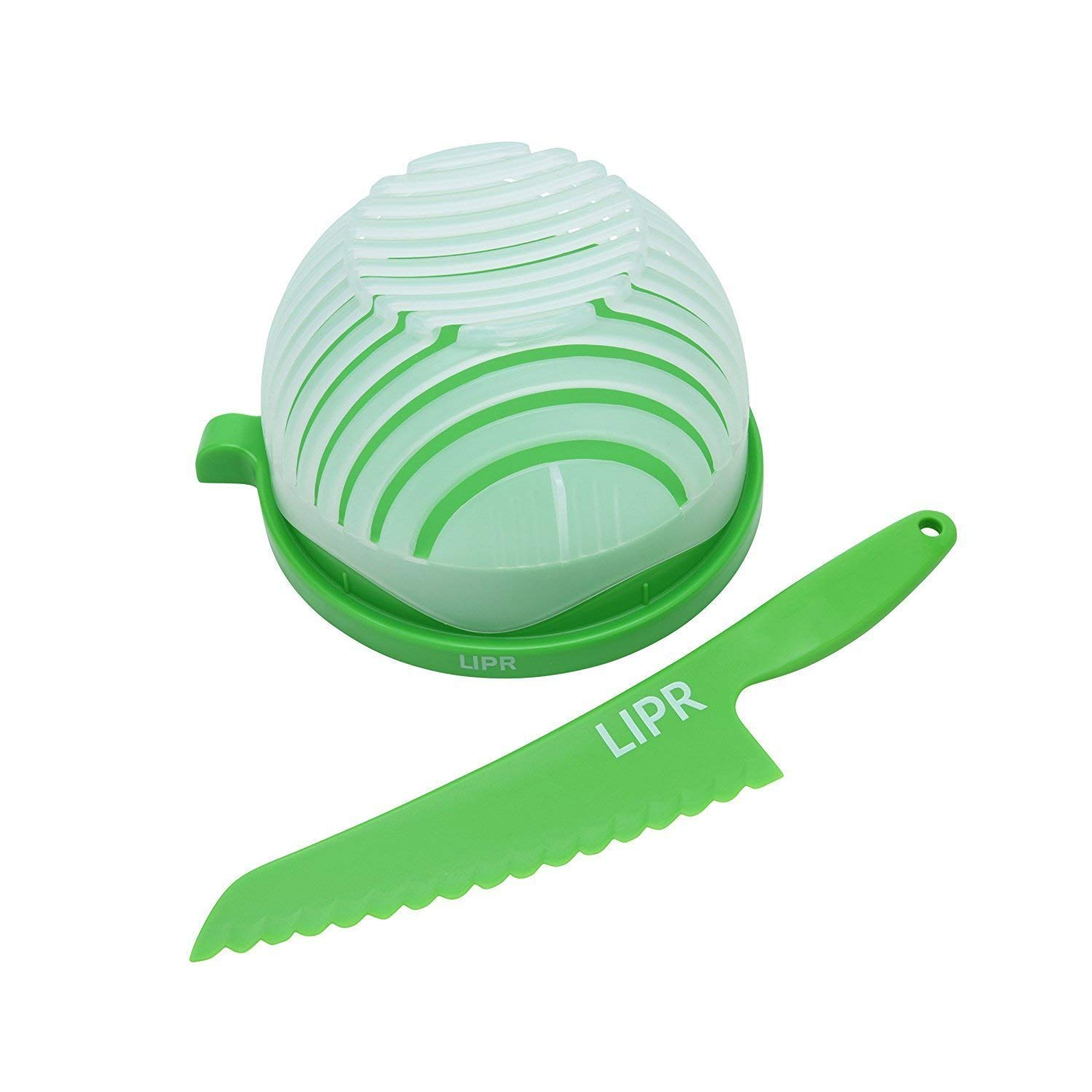 LIPR Large BPA Free Salad Cutter and Bowl with Lettuce Knife Cuts Fruits and Vegetables in Seconds