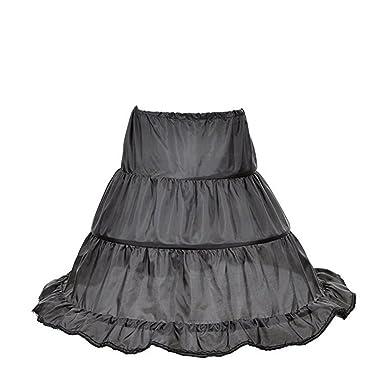 d2b474059d94 Xiongfeng Xiongfeng Mädchen Petticoat Unterrock Krinoline Pettiskirt  Reifrock für Kinder Schwarz Röcke  Amazon.de  Bekleidung