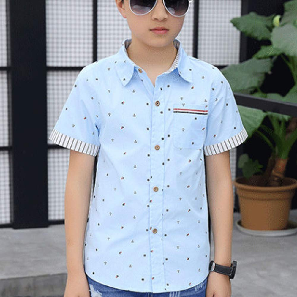 Cotton Boys Floral Short Sleeve Button Down Shirt