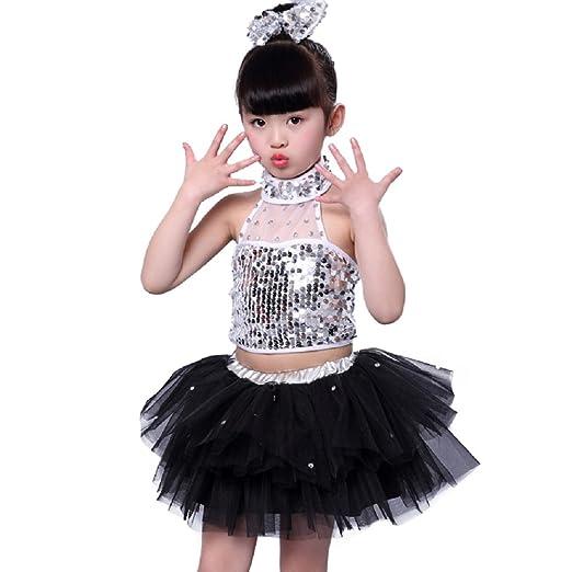 1425f2dd2bcbb Amazon.com: Dreamowl Children Girls Sequins Dance Costume Stage Performance  Dress: Clothing
