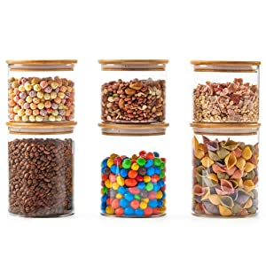 EZOWare 6 Piece Clear Glass Jars Air Tight Canister Kitchen Food Storage Container Set with Natural Bamboo Lids for Candy, Cookie, Rice, Sugar, Flour, Pasta, Nuts - 900ml / 1400ml