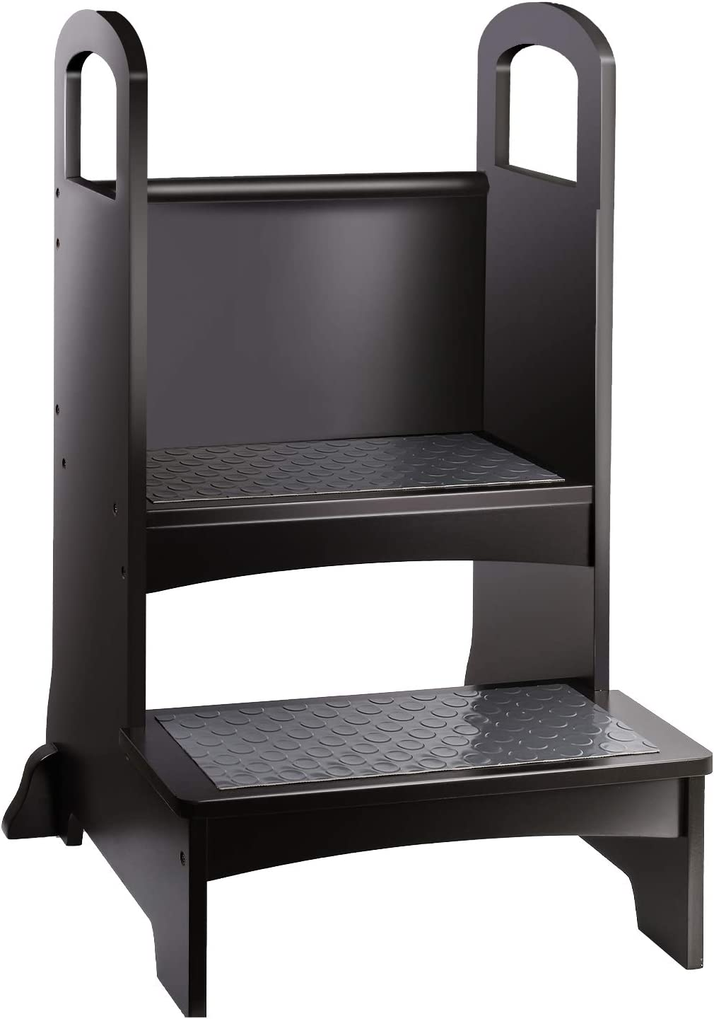 YOUNIS Kids Kitchen Step Stool, Toddler Kitchen Learning Stool, Height Standing Tower Stool for Children with 2 Non-Slip Mats, Safety Stool in Home Kitchen Bedroom - Espresso Deep Brown Black