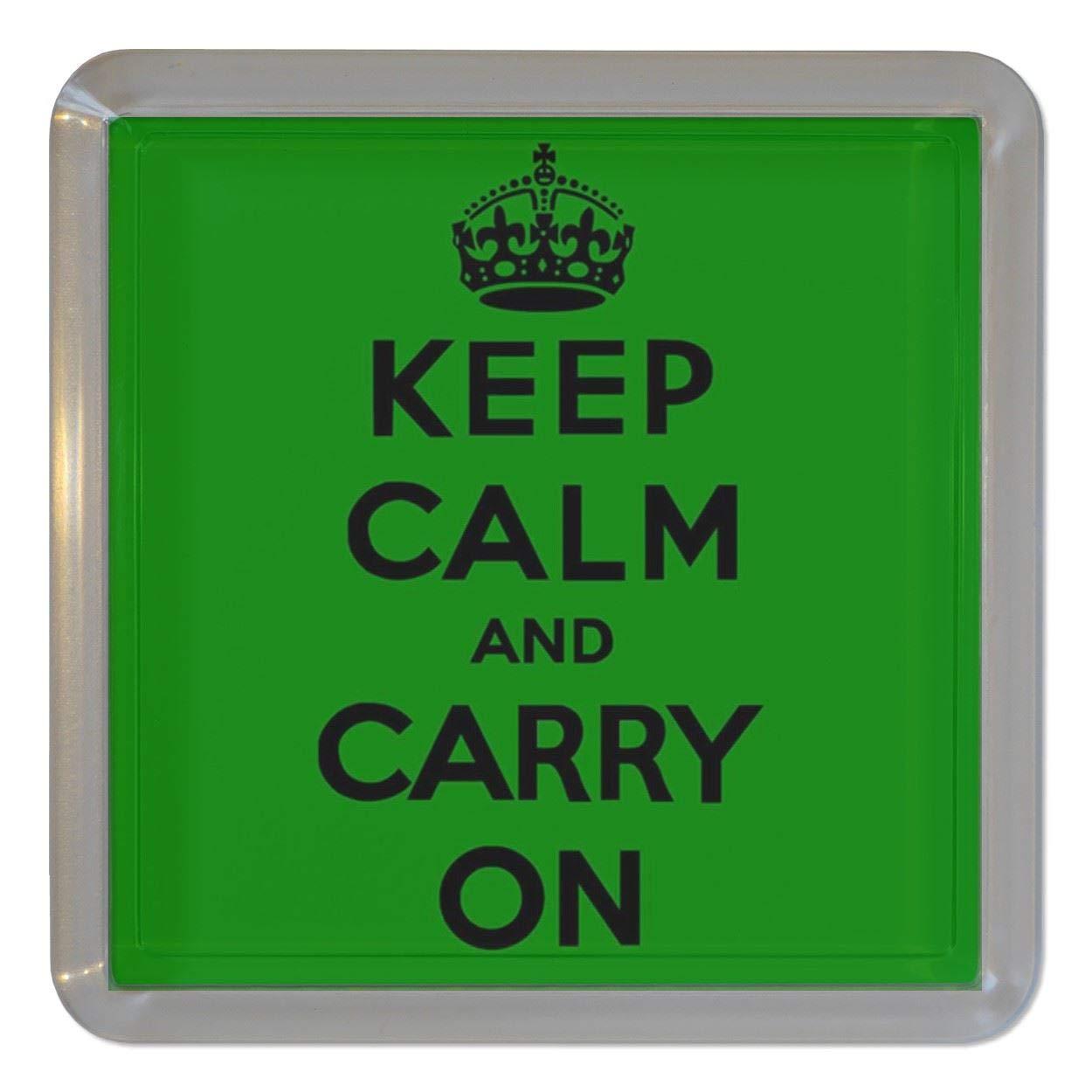 グリーンKeep Calm and Carry On – クリアプラスチック茶コースター/ビールマット   B00MOW9N3C
