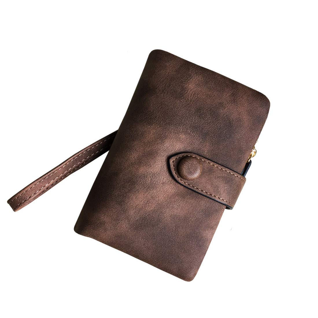 Women's Small Bifold Leather wallet Rfid blocking Ladies Wristlet with Card holder id window Coin Purse (Brown) by Freehorse (Image #2)