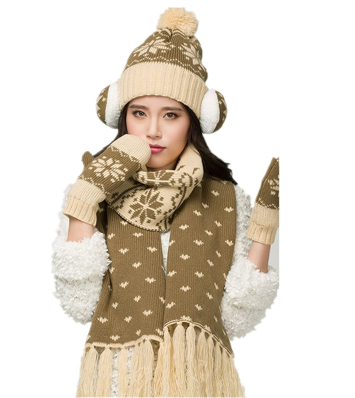 Frauen Winter-Schneeflocke plus Samt Hut / Geh?rschutz / Schal / Handschuhe vier von Withered eingestellt
