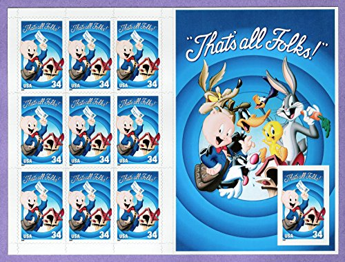 Porky Pig Sheet of Ten Stamps with Imperforate Stamp Error Scott # 3535