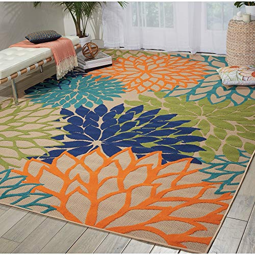 - 1 Piece Nautical Coastal Colorful 5x7 Area Rug Elegant Floral Pattern Bold Tropical Green Blue Geometric Rug Contemporary Design Botanical Feel Like Garden Abstract Rug Stain Resistant Living Room Rug