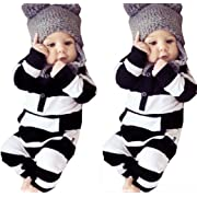 Newborn Baby Girls Boys Clothes Long Sleeve Striped Bodysuit Rompers Outfits Set (0-6M, Striped)