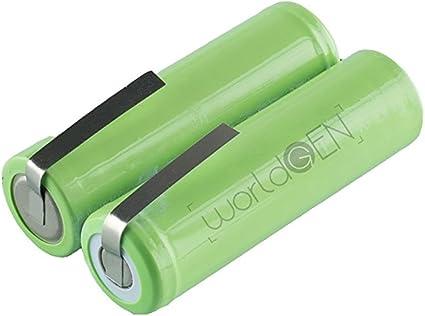 Batería de repuesto worldgen 1800 mAh 2.4 V 49 x 14 mm para afeitadora eléctrica Philips Philishave HQ Series (lista en descripción), Braun Flex Integral 6520, Grungig Avantgarde 8895, Remington hc852 y