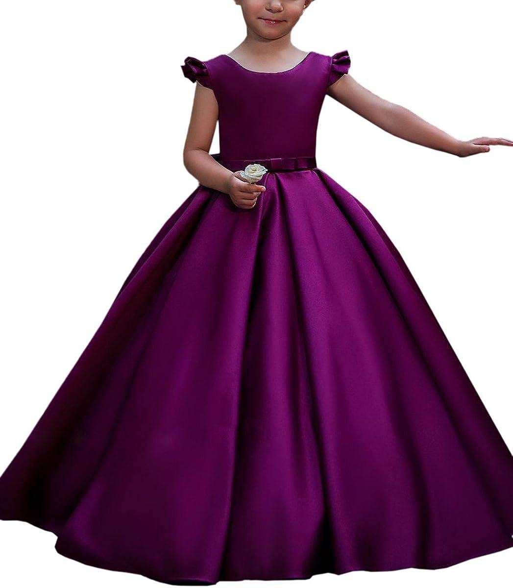Amazon Com Satin Flower Girl Dress For Wedding Big Bow Kids Ball Gowns Purple Custom Size Clothing,Semi Formal Wedding Guest Dress Code