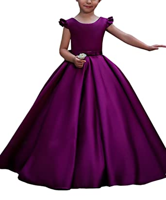 Satin Flower Girl Dress for Wedding Big Bow Kids Ball Gowns Purple Size 2 b342df99a