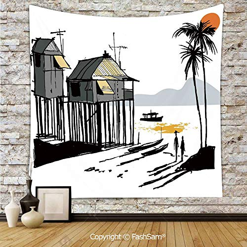 Polyester Tapestry Wall Sketchy Fishing Village Malay in Singapore with Houses Canoe Palms Sun Hanging Printed Home Decor(W39xL59)