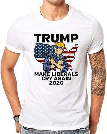 W&TT Trump 2020 Camiseta política Hombre Camisa de Manga Corta con Estampado Suelto Camiseta Blanca de algodón,A,S: Amazon.es: Hogar
