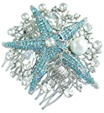 Sindary Silver Tone Wedding Headpiece Blue Clear Rhinestone Crystal 3.15'' Starfish Bridal Hair Comb HZ6412