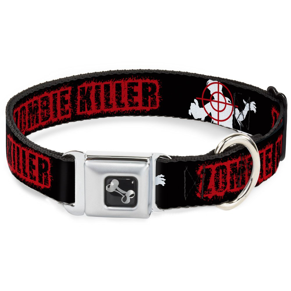 Buckle-Down 9-15  Zombie Killer Zombie Target Black White Red Dog Collar Bone, Small