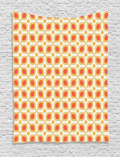 Orange Tapestry Bohemian Decor Ambesonne, Vintage Style Bold Geometric Shapes 70s Style Minimalist Pattern Boho Home Decor, Bedroom Living Room Dorm Wall Hanging, 60 W x 80 L Inches, Orange - Trends Popular 70s In The
