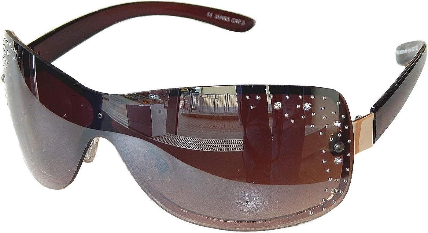 Sonnenbrille Damenbrille Gold Braun mit Strasssteinen Brille Monoglas 33 Brown