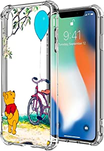DISNEY COLLECTION iPhone X/Xs [5.8 inch] Case Clear Design Disney Winnie with 4 Corners Shock Skid Proof Scratch-Resistant PC+TPU Protection Cover