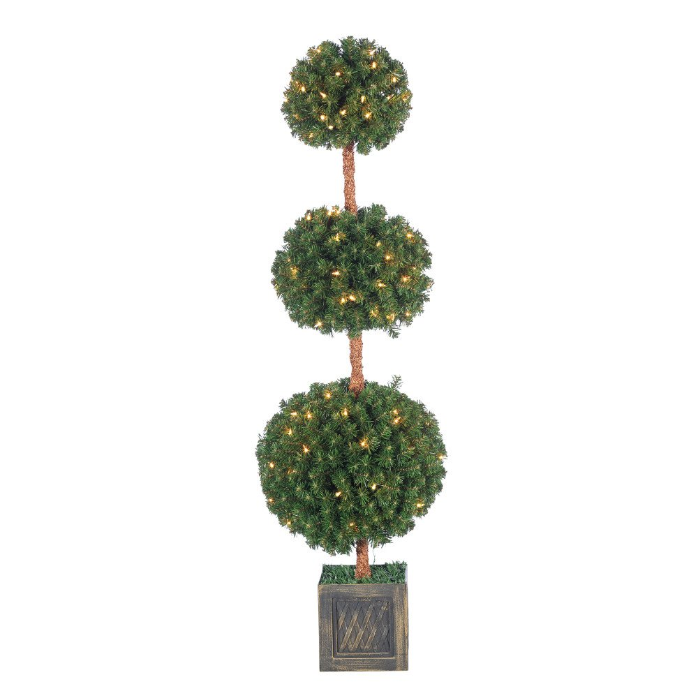 Sterling Pre-Lit Potted Triple Ball Tree with Round Tips, 5 ft., 150 UL Clear Lights, 760 Tips, 15 in. Base Width