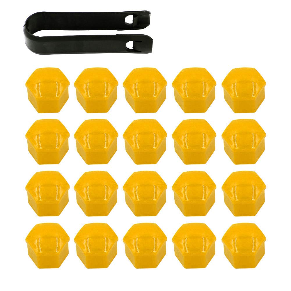 ARTGEAR 20 Pieces Wheel Nut Cap 17mm, Wheel Bolt Nut Caps Covers for VW, Hexagonal Tire Nut Covers with Removal Tool Set for Cars, Yellow