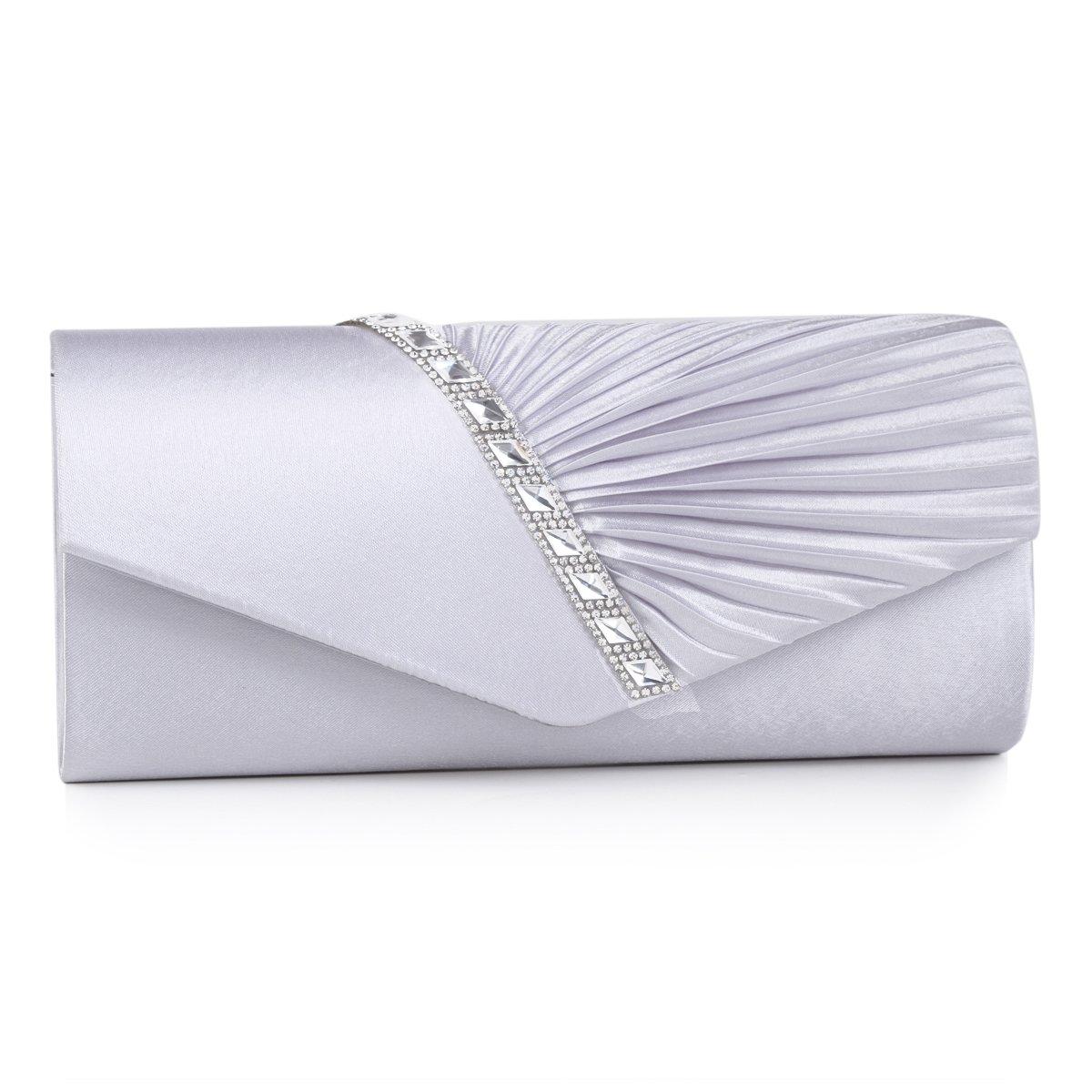 Damara Womens Pleated Crystal-Studded Satin Handbag Evening Clutch,Silver