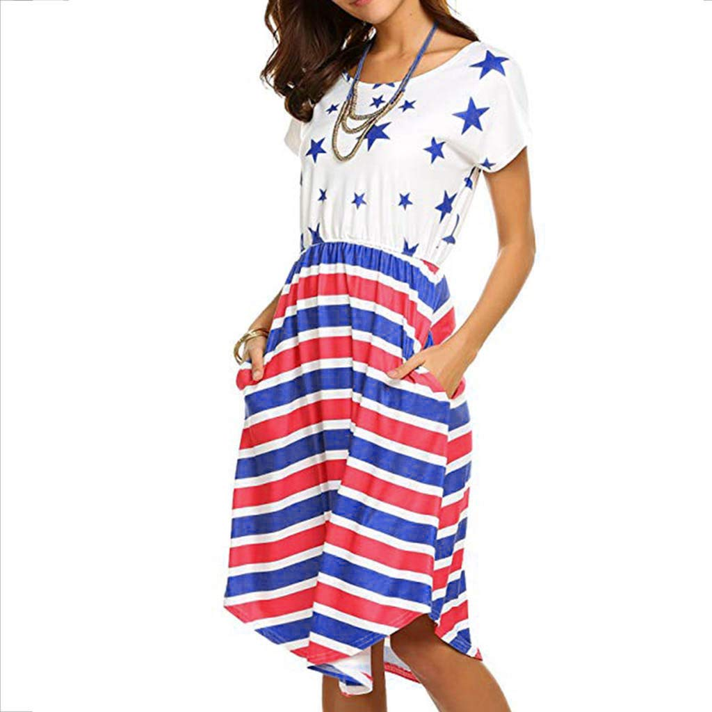 Independence Day Dress for Women Boho Summer Sleeve Beach Printed Short Mini Dress White Maoyou