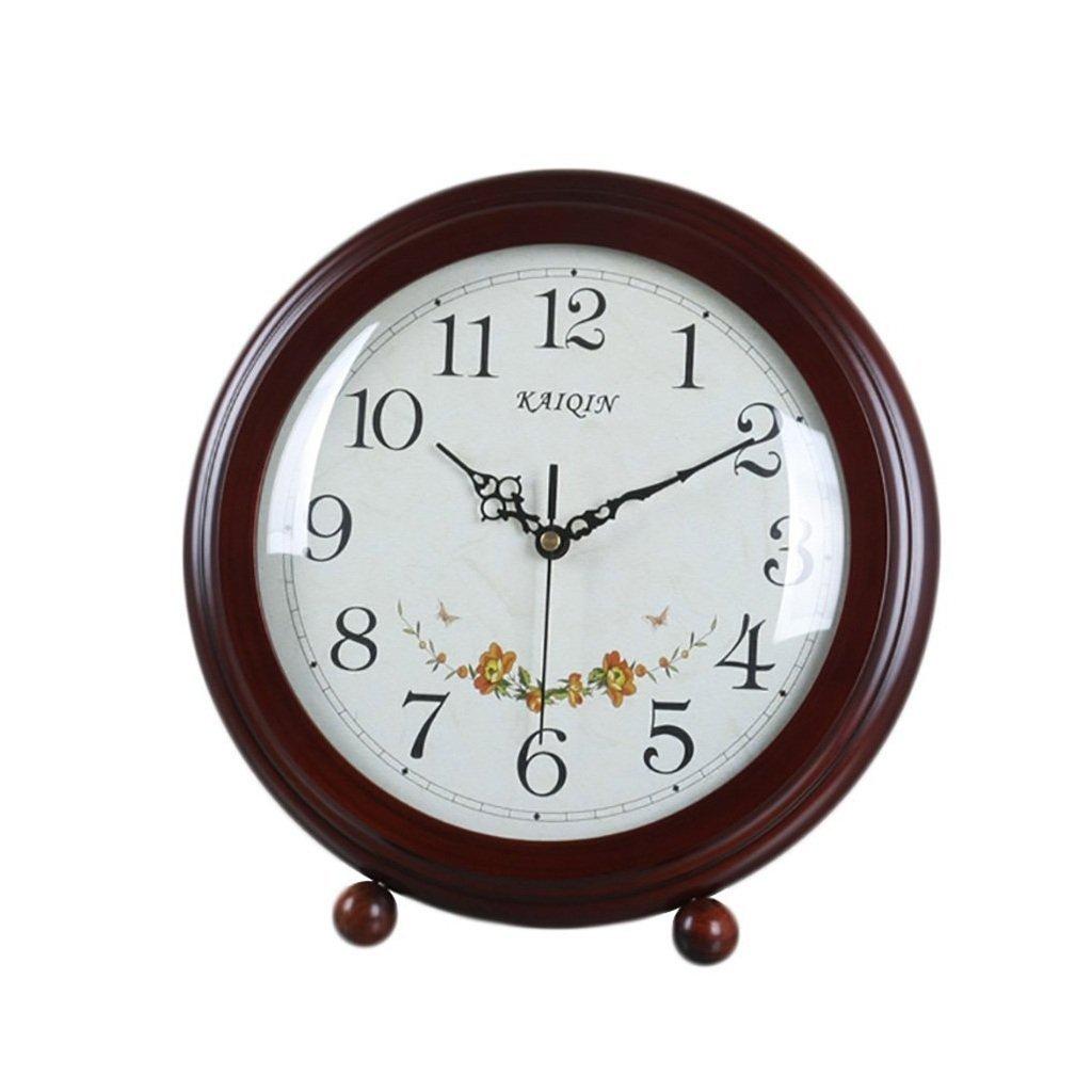 HAOFAY Desktop Clock, Vintage European Personality Brown Bedside Battery Powered Quartz Clock by HAOFAY (Image #1)