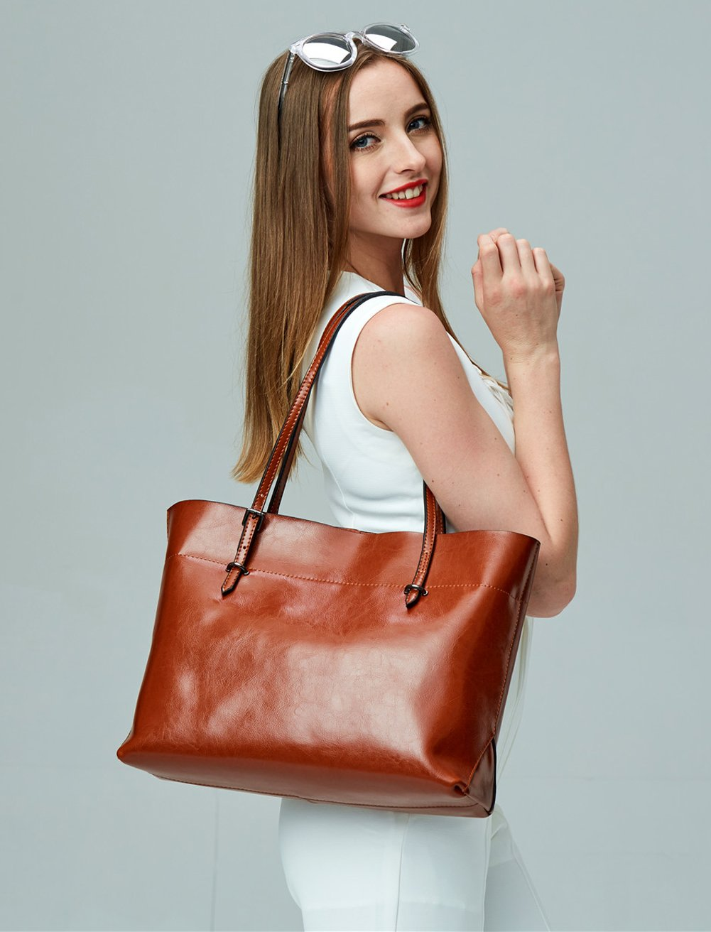 Covelin Women's Handbag Genuine Leather Tote Shoulder Bags Soft Hot Brown by Covelin (Image #2)