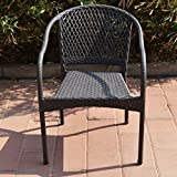 Homebeez Grey Wicker Patio Chair. Chair Only, Set of 2