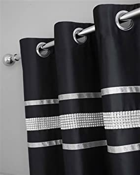 Kitchen Curtains black and silver kitchen curtains : BLACK & SILVER DIAMANTE BLING BEDDING AND/OR CURTAINS AND/OR ...